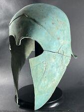 EXTREMELY RARE ANCIENT GREEK BRONZE DETAILED BATTLE HELMET CIRCA 500-300BCE