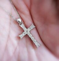 """1Ct Diamond Cross Pendant Necklace with Chain 18"""" In 14K White Gold over"""
