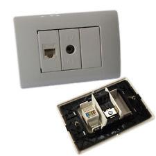 Placca 3 Posti Completa 1 Presa Tv 1 Presa Ethernet Rj45 Incasso Lk40-6 linq