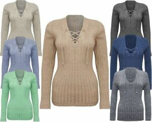 Women Ladies Knitted Tie Lace Up V Neck Ribbed Stretched Jumper Top Sweater 8-14