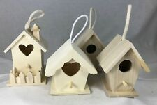 "4 Birdhouses 5"" Wood to Paint Embellish Hang Christmas Ornaments Decor ArtMinds"