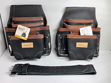 2 PACK - 10 POCKET HEAVY DUTY BLACK OIL TAN LEATHER TOOL POUCH WITH LEATHER BELT