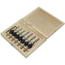 22PC TAPERED DRILL BITS COUNTERSINK SET ADJUSTABLE STOP COLLARS HEX KEY PILOT