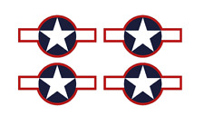 "Set of 4 Remote Control (RC6) Red Blue White Stars & Bar 9"" RC Airplane Stickers"