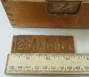 Antique Brass Engraving Plates Letters & Numbers Complete Set Original Box L@@K!