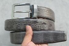 Luxury Gray Genuine Alligator, Crocodile Leather Skin Men's Belt - W 1.5''