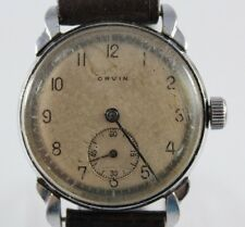 VTG Orvin WWII Military Manual Wind 7 Jewels Cal.P190 33mm Mens Watch lot.51