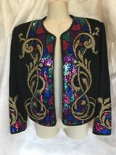 Stunning ST. JOHN EVENING BLACK Colorful SEQUIN KNIT JACKET Shrug SZ 8 Rare!