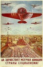 Russia Vintage War Propaganda Airplane Poster 11 x 17 Giclee Print