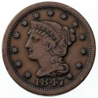 1847 Large Cent VF Condition, All Brown Color, Nice Detail Both Sides