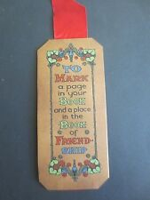 Vintage BOOKMARK Greetings 1930s To Mark A Page in Your Book & of Friendship