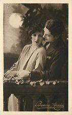 1920s French Lovers New Year Lithograph Postcard Bonne Annee Unposted