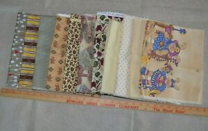 Cotton quilting fabric. lot of 11 pieces, tan & brown. Between 1/2-1 yard