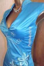 FAB ❤️ JANE NORMAN Wiggle Turquoise Satin Oriental Chinese Party Dress Size 10