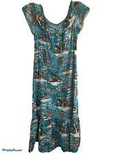 Vgt Hilo Hattie Dress Womens Sz M Tropical Print MuuMuu Off Shoulder Ruffle Hem