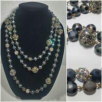 "Vintage 74"" Vendome ? Glass Polka Dot AB Smoke Crystal Bead Necklace Mid-Century"