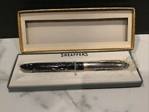 NEW Vtg SHEAFFER SENTINEL WHITE-DOT TOUCHDOWN FOUNTAIN PEN BLACK w/ STEEL CAP