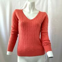 New York & Company Womens Orange Light Cable Knit Sweater Size Extra Small