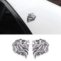 2x lion head  decals Sticker Emblem Car Peugeot Tiger Big Cat fear Lion Chrom