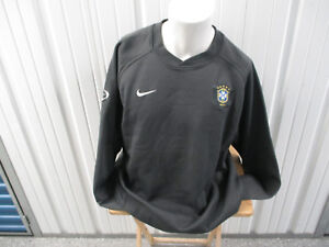 VINTAGE NIKE BRAZIL NATIONAL FOOTBALL TEAM 2XL PRACTICE SEWN GRAY LS JERSEY
