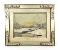 Antique Vintage Naive Folk Art Oil Painting of New England Winter Scene