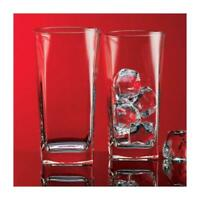 Red Series 16 oz Square Highball Beverage Drinking Glasses (Set of 8)
