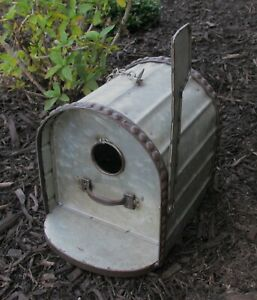 Mailbox BIRDHOUSE*Galvanized Metal*Primitive/French Country Farmhouse Tree Decor