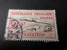 FRANCE 1953 timbre 960, NATATION SPORT, JEUX OLYMPIQUES oblitéré, VF STAMP