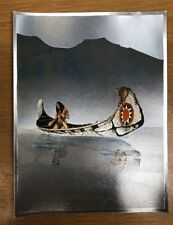 VINTAGE DUFEX FOIL ART PRINT Native American In Canoe Fishing Made in ENGLAND