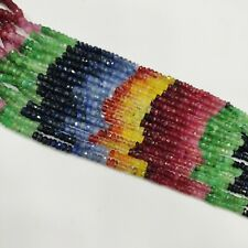 Natural Ruby Emerald Sapphire Multi Gemstone Shaded Rondelle Beads Strand GH2