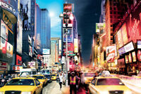 New York Day and Night Times Square Photo Art Print Poster 36x24