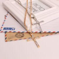 Elegant Men Women Cross Crystal Pendant Long Chain Necklace Fashion Jewelry Hot