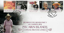 Pitcairn Islands 2013 FDC Lily Warren BEM Prominent Pitcairners 4v Set Cover