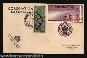 INDIA 1937 KING GEORGE QUEEN CORONATION STEPHEN SMITH SIGN ROCKET GRAM FLOWN