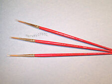 67151 Plaid * Pointed Round Brush #3 - Set of 3 * for Oil, Acrylic or Watercolor