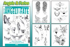 ANGELS & FARIES Tattoo Flash Design Book 64-Pages Cursive Writing Art Supply