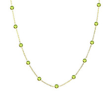 14k ORO AMARILLO Collar By The Yard con Peridoto Piedras Preciosas 40.6cm