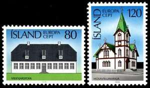 Iceland 1978 Europa, Buildings, Architecture, Mansion & Church UNM / MNH-