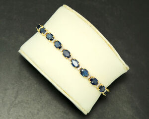 Natural Blue Sapphire Gemstone & Diamond 14K Yellow Gold Women Tennis Bracelet