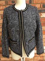 Charming Charlie Womens M Black Blazer Suit Jacket Coat Chain Detail Line Career