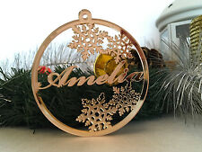 Personalized Name Ornament Custom Name Bauble Gift Tags Gold Tree Decorations