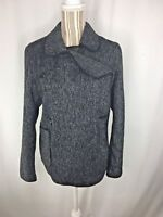 Lucky Brand Women Jacket Large Double Breasted Wool Pockets Gray