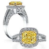 1.92 ct. Cushion Cut Fancy Yellow Diamond Halo Engagement Ring GIA 18K VS1