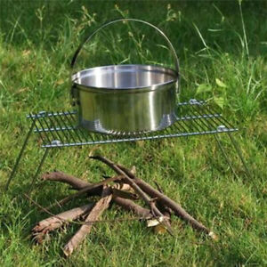 Folding Grill Stand Camping Stove BBQ Grill Rack For Camping Hiking Fishing LC