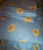 Waverly Twin Size Heavy Cotton Flannel Fitted & Flat Sheet With Pillowcase Blue