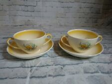 RARE NEWHALL POTTERY RICHMOND YELLOW DOUBLE HANDLED CUPS AND SAUCERS