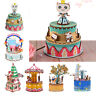 Wind-up Music Box 3D Wooden Puzzle Merry-Go-Round Handmade Gift Girls