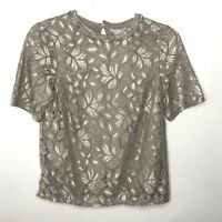 H&M Womens Size XS Blouse Top Lace Taupe Tan Short Sleeve Keyhole Back NWT