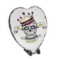 Personalised Skull Heart Shaped Slate - Wedding - Mr/Mrs MrMr MrsMrs - Couple