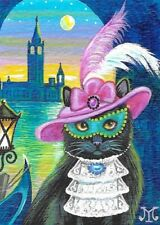 ACEO PRINT OF PAINTING RYTA BLACK CAT CARNIVAL VENICE MASK ITALY GONDOLA CANAL